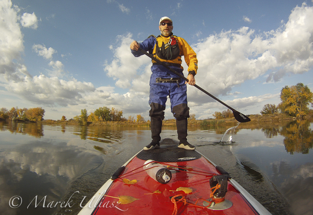 stand up paddling in drysuit