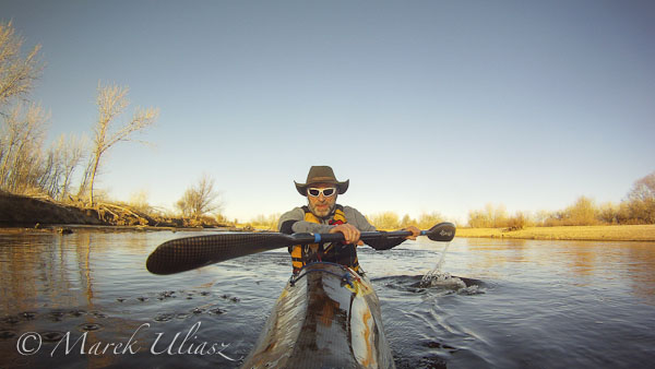 paddling South Platte River with GoPro camera