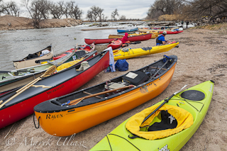 Kayaks and canoes on South Platte River