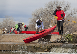 portaging kayaks and canoes on South Platte River