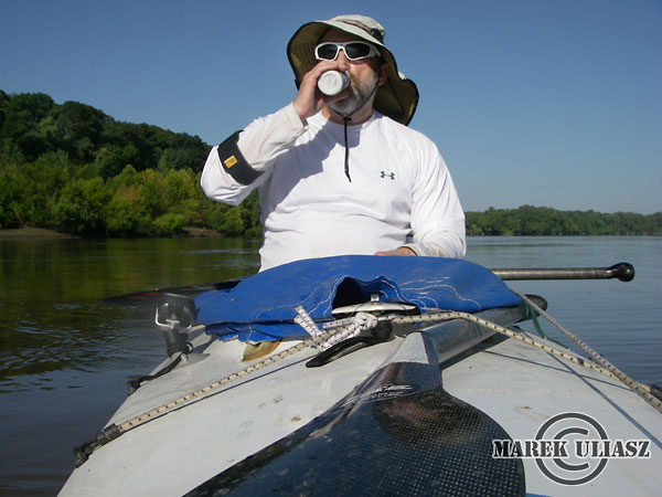 paddling Missouri River during 2010 MR340 race