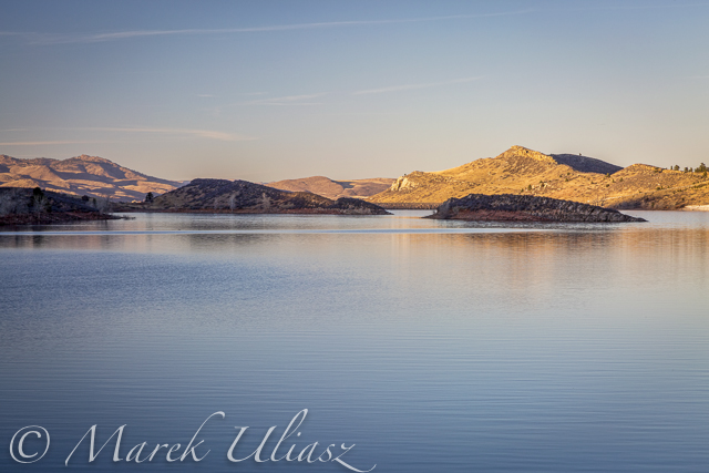 February 13, 2015: Sunset over Horsetooth Dam seen from the ELtuck Cove.