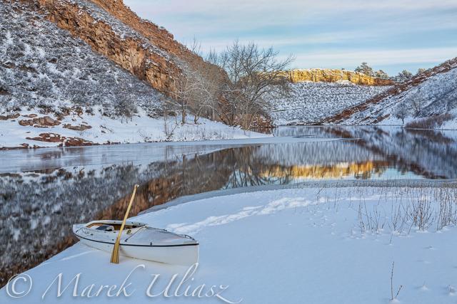 Winter Season Paddling on Horsetooth Reservoir with Sea Wind Canoe