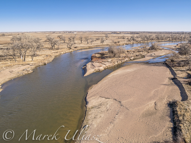 Aerial View of South Platte River at Wildcat Mound below Platteville