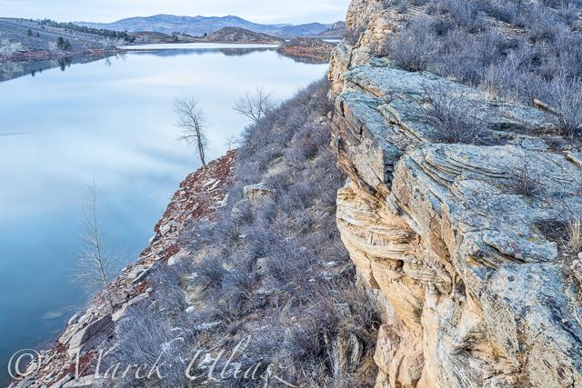 winter dusk over Horsetooth Reservoir