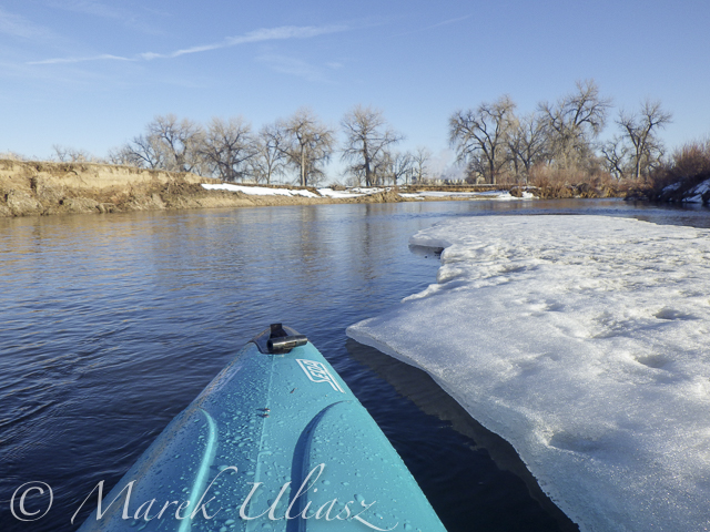 Paddling upstream St Vrain Creek