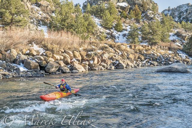 Paddling upstream Arkansas River above Hecla Junction