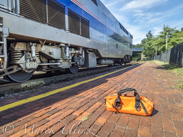 My shuttle after MR340 race; the paddleboard in at a hotel in St Charles, the car is at a hotel in Kansas City, and I am boarding Amtrak River Runner at Kirkwood, MO