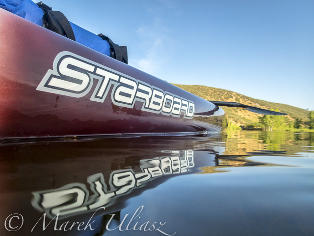 Half underwater picture of Starboard Expedition SUP on Horsetooth Reservoir, CO.
