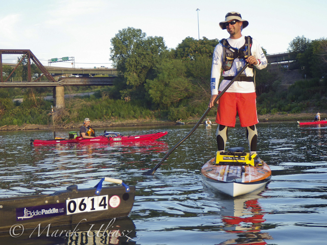Shane Perrin on His Stand Up Paddling Board at the Start of 2012 Missouri River 340 Race