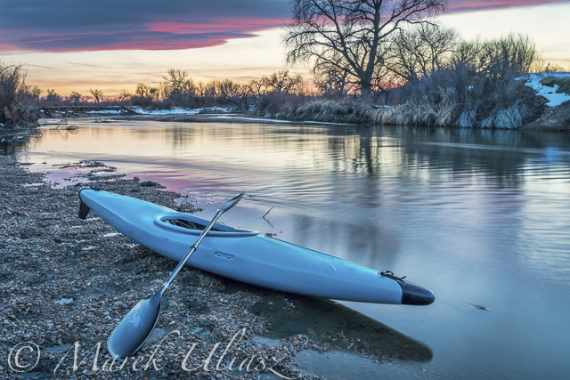 Lower Saint Vrain Creek – Paddling and Evening Blue Hour Photography